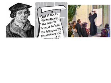 Reformation Day   October 31   This is the month we celebrate Luther's posting of his 95 Theses.  This event began the entire Reformation.  See brochure (just below) to find out what the Theses were.